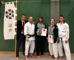 Unsere Edo Mannschaft mit Roman, Andreas, Nicole, Bianca und Andy (Dojoleiter)
